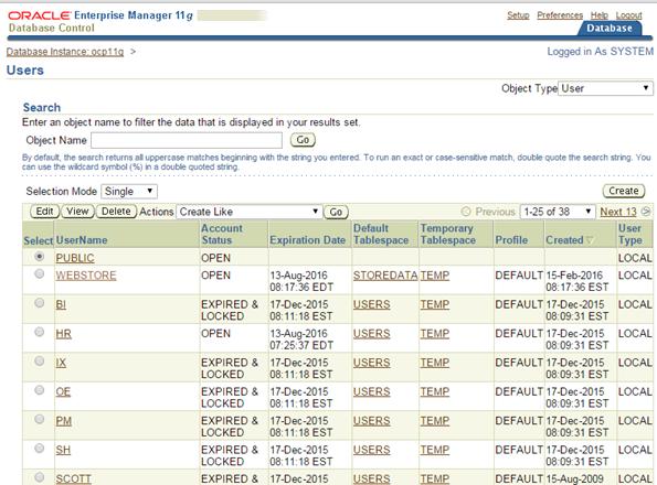 рисунок 6-3 Окно управления пользователя в Database Control
